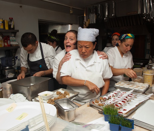 April Bloomfield and Anita Lo in the James Beard House kitchen