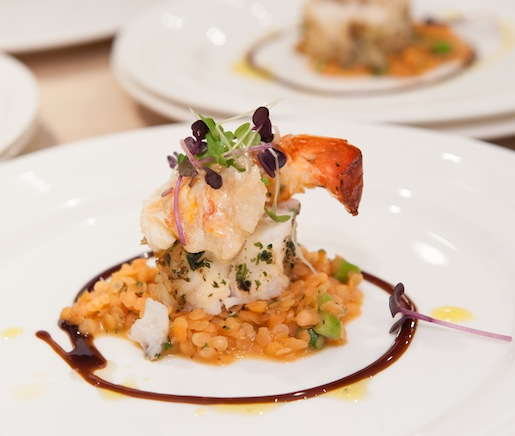 War of the Lobster > Monkfish Medallion and Butter-Poached Maine Lobster with Crimson Split Pea Pilaf and Carrot–Saffron Jus