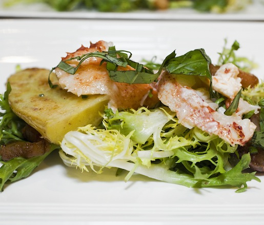 Warm Lobster Salad with Frisée, Fingerling Potatoes, Lardons, and Smoked Shallot Vinaigrette