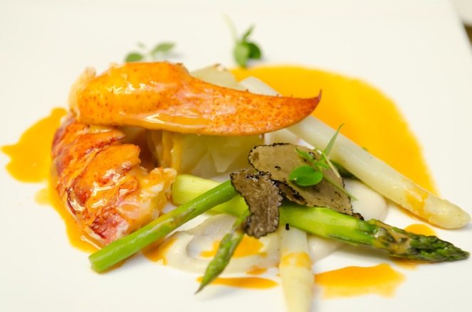 Pressed Nova Scotia Lobster > Sautéed Lobster Tail with Pressed Lobster Jus, Cognac, Jumbo Asparagus, and Heirloom Potato–Leek Terrine