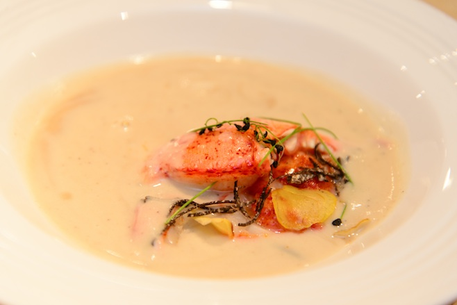 Butter-Poached Maine Lobster with Celery Root Soup, Black Truffle Gelée, Parmesan, and Arugula