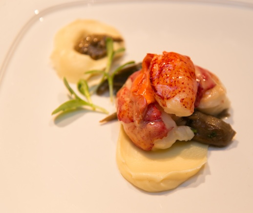Butter-Poached Maine Lobster with Parsnips, Foraged Black Walnuts, and Hen of the Woods Mushrooms
