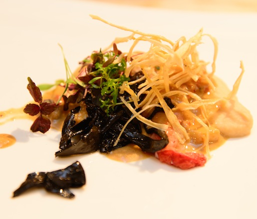 Grilled Lobster with Peruvian White Bean Purée, Mushroom Curry, and Crispy Salsify