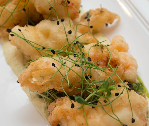 Crispy Maine Lobster with Chickpea–Mint Tempura and Arugula–Lemon Oil Pesto