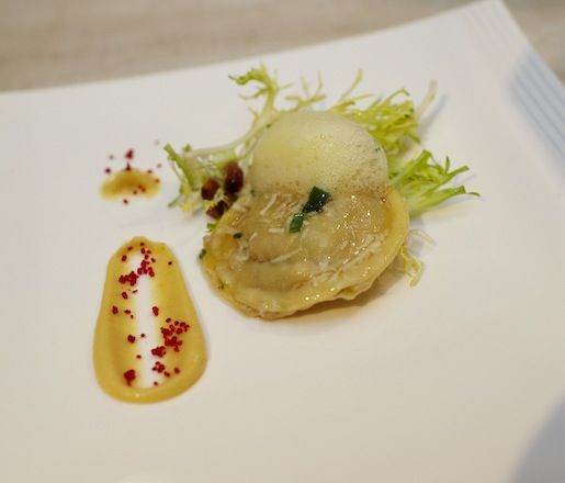 Brown Butter Lobster Ravioli with Gilbertie's Herb Gardens Parsnip–Apple purée, Benton's Bacon, and Saffron Bubbles
