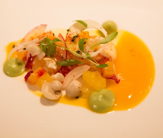 Maine Lobster Salad with Hearts of Palm, Avocado, Cilantro, Compressed Pineapple, and Vanilla Dressing