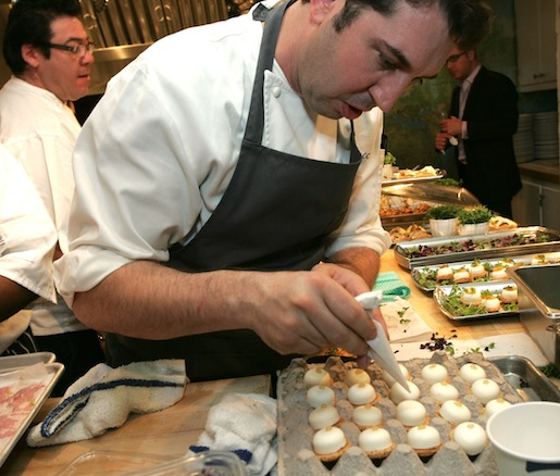 Chef Rocco Lugrine finishing macarons