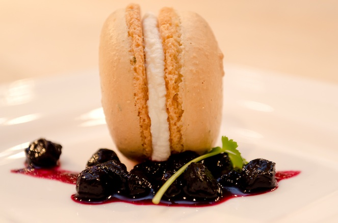 Rosemary Macaron with Pennsylvania Amish Chèvre and Huckleberry Preserves