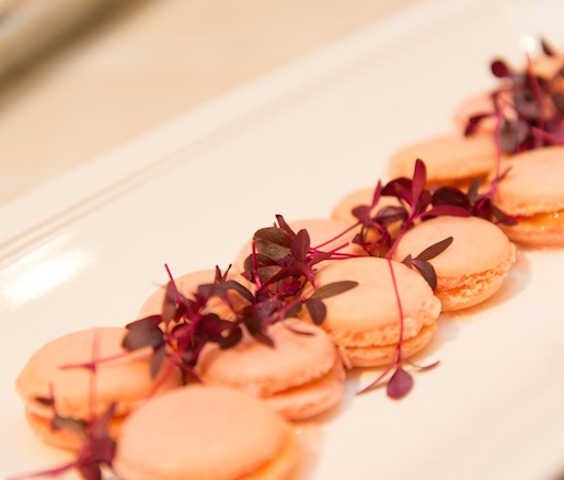Hudson Valley Foie Gras–Rhubarb Macarons with Fennel Pollen