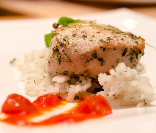 Seared Mahi-Mahi with Herbed Rice and Grilled-and-Smoked Tomato Jam