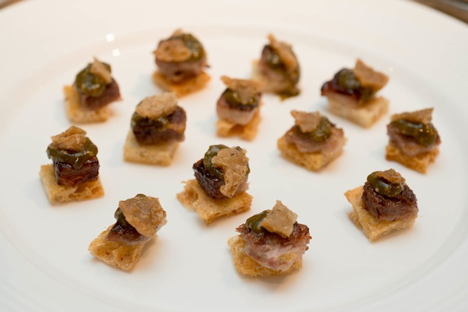 Mangalitsa Pork with Tomatillo Jam and Crispy Chicharrón