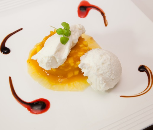 Mango–Pineapple Terrine with Coconut Ice Cream and White Chocolate–Truffle Mousse