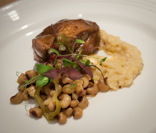 Meat and Grits > Calvados-Braised Duroc Pork Cheeks with Southern-Style Lady Peas and Apple Butter–Brie Delta Grits