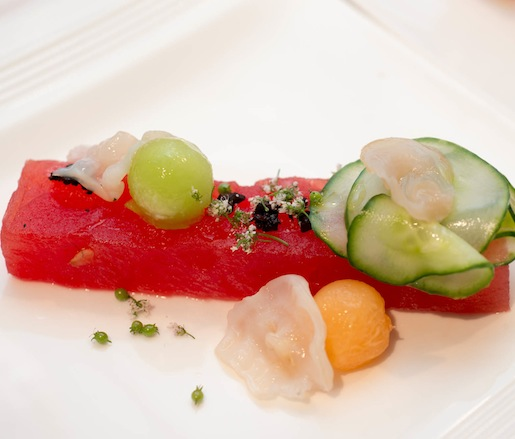 Charcoal-Grilled Melon–Cucumber Terrine with Dried Black Olives and Shaved Geoduck