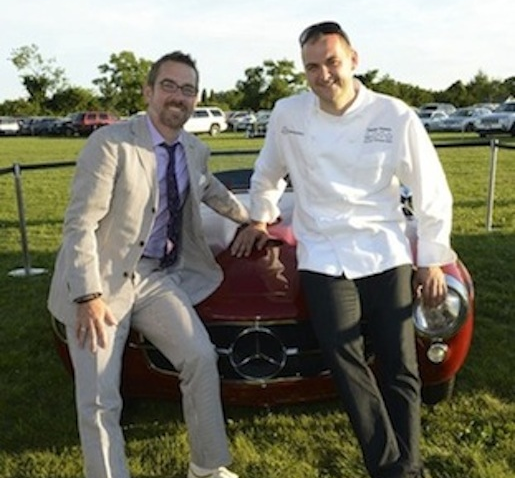 The Mercedes-Benz convertible doubles as a seat for Ted Allen and Daniel Humm