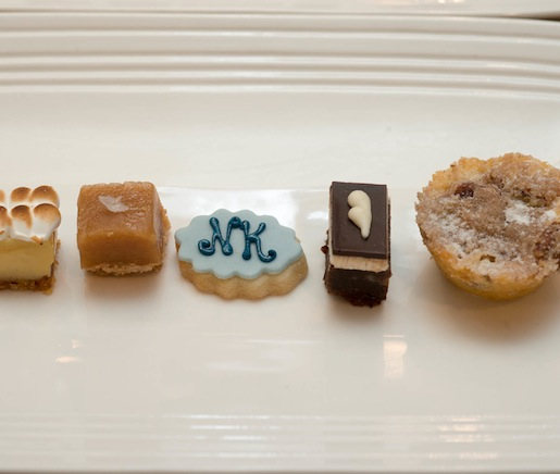 Key Lime, Iced Brownie, Salted Caramel, and Coffee Cake Mignardises