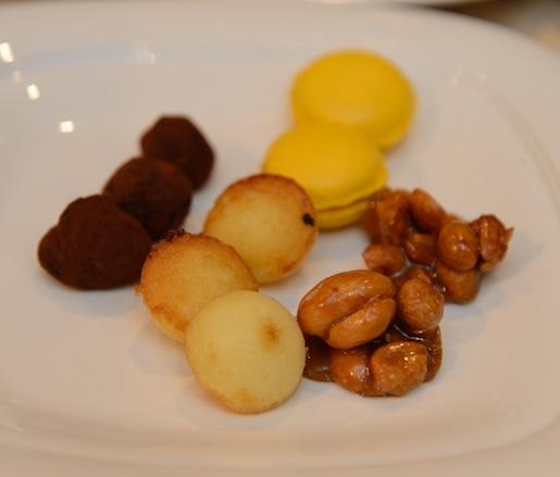 Mignardises > Durian Macaroons, Chocolate–Pandan Truffles, Miniature Bika Ambon, and Gula Merah–Peanut Brittle