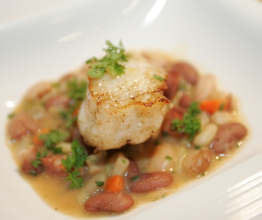 Monkfish with Heirloom Beans and Linguiça Sausage