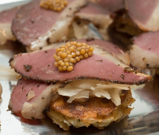 Duck Pastrami Monte Cristos with Spiced Cured Duck, Sauerkraut, and Savory Matzoh Brei