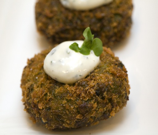 Mushy Pea Fritters with Minted Yogurt
