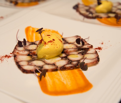 Octopus Terrine with Saffron–Meyer Lemon Cream and Smoked Paprika Aïoli