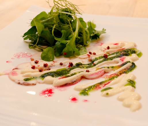 Spanish Octopus Carpaccio with Persillade and Herb Emulsion