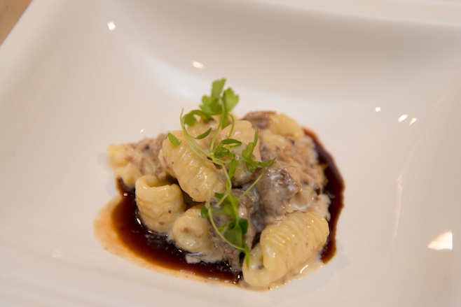 Housemade Orecchiette with Braised Fischer Farm Wagyu Beef Shank, Horseradish Cream, House-Grown Celery Greens, and Braising Jus