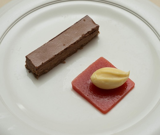 Chocolate Duo > White Chocolate–Blood Orange Pot de Crème and Jivara Chocolate Kit Kat