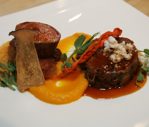 Deconstructed Osso Buco > Roasted Veal Tenderloin with Marrow Powder, Philippe Chin's Crispy Veal Sweetbreads, Heirloom Carrot Purée, Potato Pavé, and Veal Jus