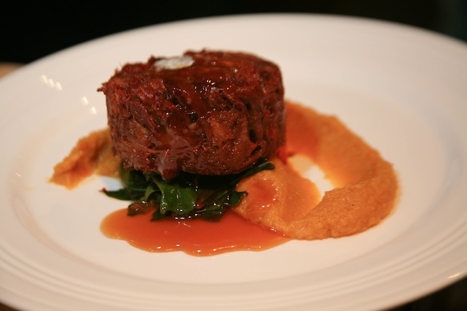 Sorghum-Glazed Pork Osso Buco with Butternut Squash Purée and Swiss Chard