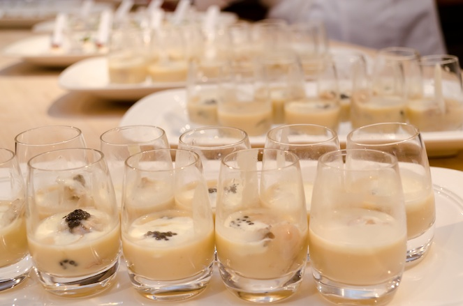 Northwest Oyster Shooters with Celery Velouté and Black Caviar