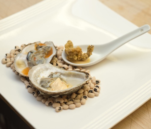 Oyster Trio > Raw Oyster with Eastern North Carolina Mignonette; Grilled Oyster with Eastern North Carolina Butter; and Fried Oyster with Eastern North Carolina Aïoli
