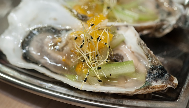 Chincoteague Oysters with Cucumber, Vodka, and Preserved Citrus Granita and Dill