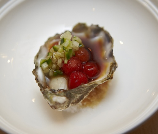 Japan > Kumamoto Oyster with Watermelon Pearls and Cucumber Mignonette