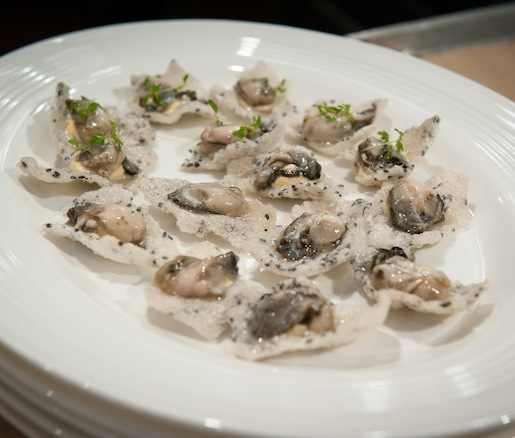 From the Sea > Oysters with Uni Crème and Edible Shells