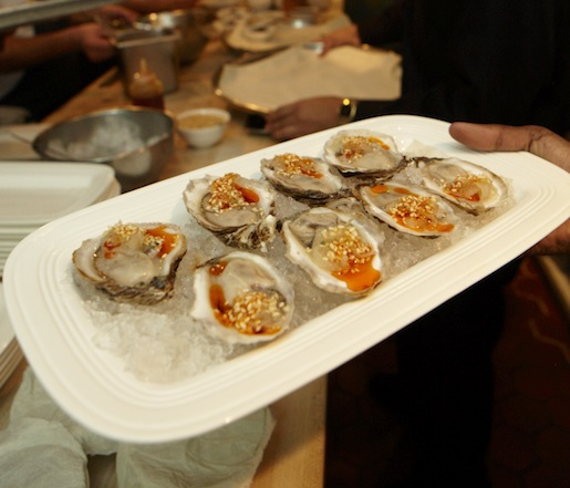 Raw Oysters with Spicy Kohlrabi Kraut and Sesame