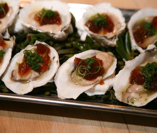 Island Creek Oysters with Sweet Bonito–Soy Gelée