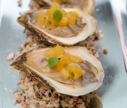 Oysters with Pineapple, Ají Amarillo, and Cilantro