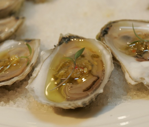 Island Creek Oysters with Young Ginger Vinaigrette