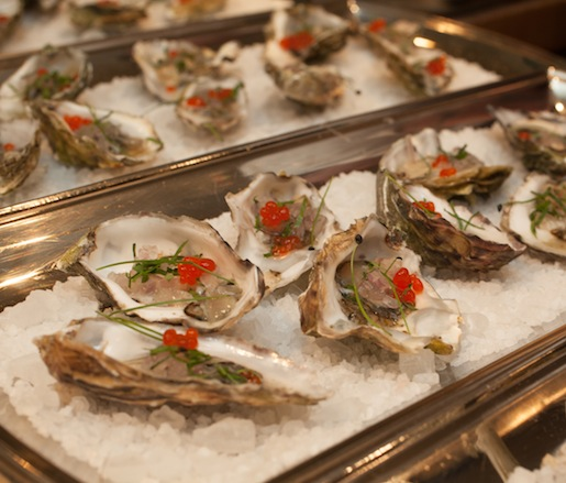 Kumamoto Oysters with Red Wine Vinegar Mignonette and Fresno Chile Pearls