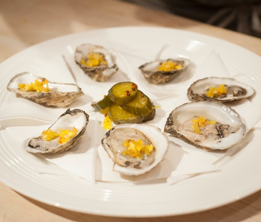 Oysters with Bread-and-Butter Pickled Onion Mignonette
