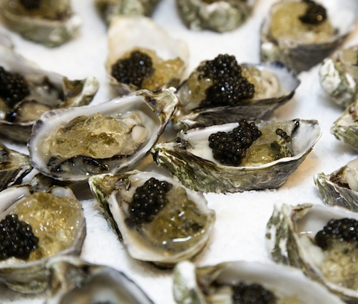 Oysters with Lillet Blanc Gelée and Caviar