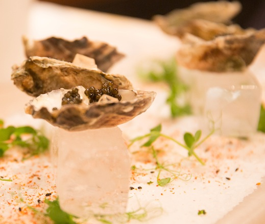 Kumamoto Oysters with Lemongrass–Champagne Gelée and Osetra Caviar