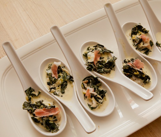 Warm May River Oysters with Kale and Prosciutto