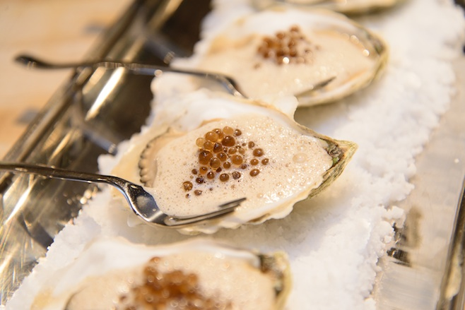 Marinated Island Creek Oysters with Black Truffle Pearls