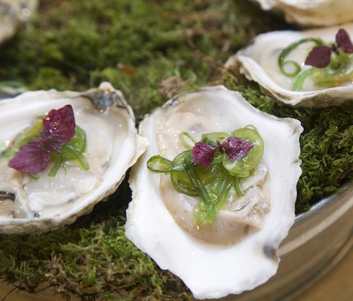 East Coast Oysters with Seaweed–Grape Salad