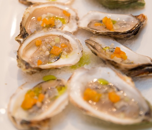 Local Oysters with Frozen Pickled Kumquats, Fennel, Fennel Pollen, and Thai Basil