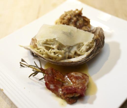 Gulf Oyster Trio > Oyster Spaghetti Carbonara, Oyster en Brochette, and Oyster Loaf
