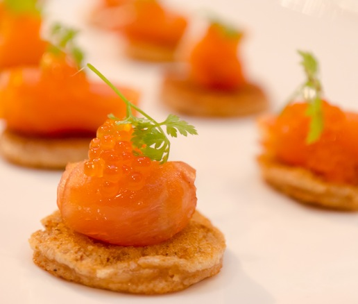 Old Guilford Mills Buckwheat–Sweet Potato Pancakes with Sunburst Trout Caviar and Baby Chervil