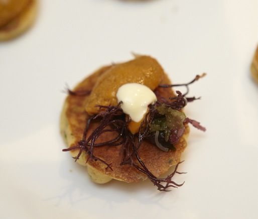 Uni Pancakes with Sea Lettuce, Yuzu, and Bonito